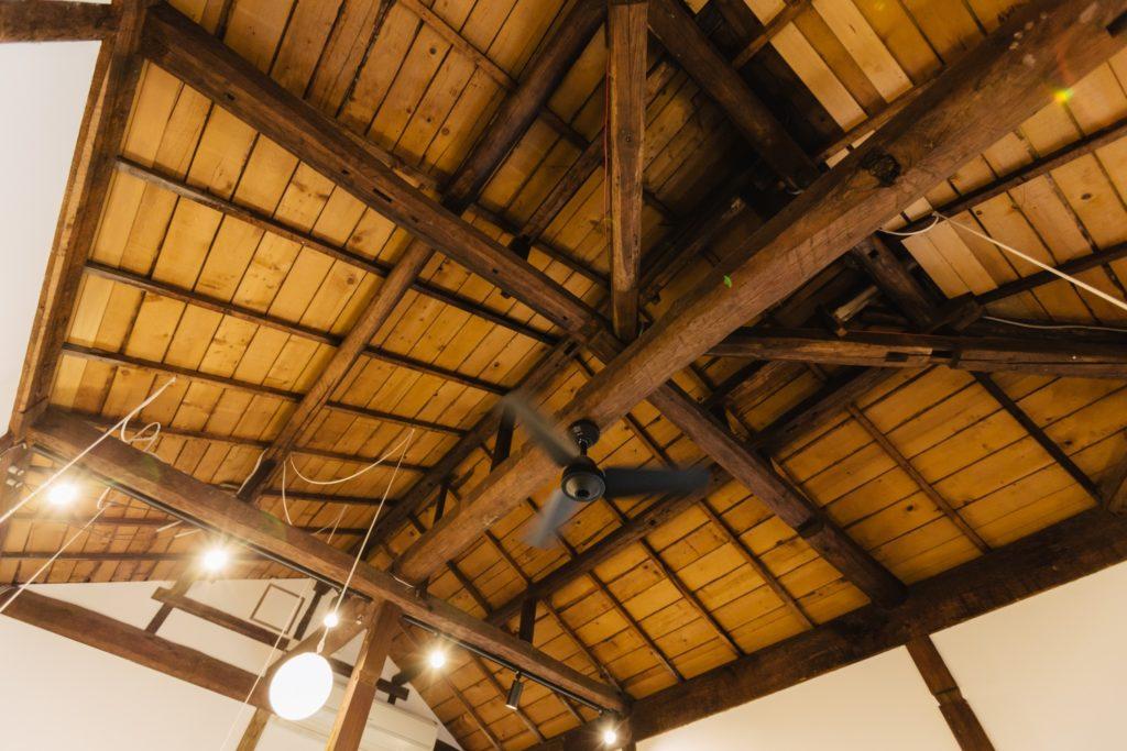 カキノキテラス 天井とシーリングファン